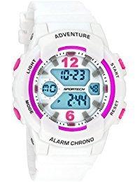 Sportech SP 12504 Damenarmbanduhr, Weiß und Metallic-Rosa, aktive digitale Sportuhr.