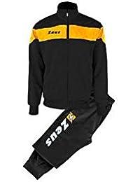 Zeus Tuta Apollo Chándal de Fútbol Sala para Hombre Complemento Relax Pegashop Colour Negro-Naranja Fluo (XXXL)