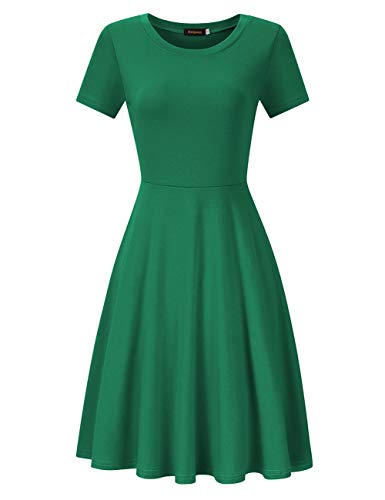 337b540b007e HiQueen Women's Short Sleeve O-Neck A-Line Casual Knee Length Dress (Green