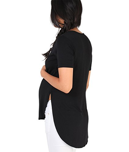 KRISP Umstandsmode High Low T-Shirt Jersey Top Schwarz