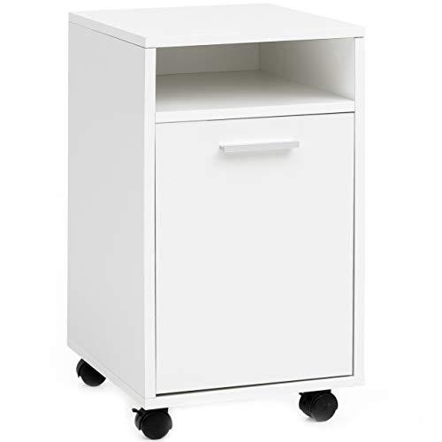 r FB16397 Weiß 33x60x38cm Schubladenschrank Büro Container | Schreibtischcontainer mit Tür & Ablage | Bürocontainer Beistellcontainer mit Rollen | Kleiner Schubladencontainer ()