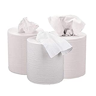 2WORK 2-Ply Centrefeed Roll, 150 m, White, Pack of 6