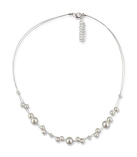 Rivelle Damen Neckholder Perlenkette creme Kette Perlen Collier Halskette Necklace Modeschmuck Hochzeit -