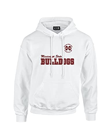 NCAA Mississippi State Bulldogs Unisex 50/50 Blended 8 oz. Hooded Sweatshirt, White, Large