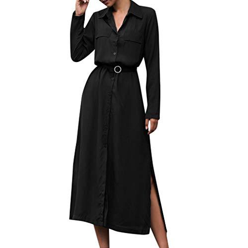 ZEELIY 2019 Mode Kleid Damen Herbst beiläufiges Langarm Knopf Feiertags Kleider Frauen Einfarbig Loses Maxi Swing Kleid Ballkleid(Dunkelblau, Schwarz, Armee-Grün)