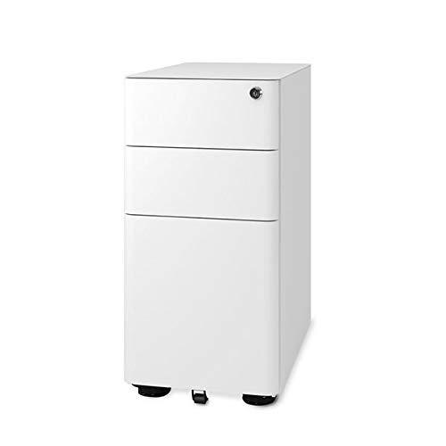 DEVAISE Metall Rollcontainer Aktenschränke Büro-Rollcontainer Bürocontainer mit 3 Schublade; Mobilen, Abschließbar, 30cm B x 50cm T x 58cm H, Weiß