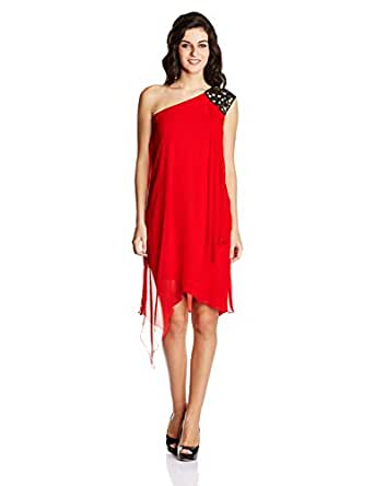 Nachiket Barve for Vogue Women's Gorgette Cocktail Dress (VOGPP14_Red_X-Small)
