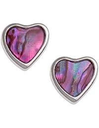 Tide Jewellery inlaid red Paua shell heart drop stud earrings ~ ideal gift