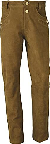 Trachten Lederhose lang Herren-Damen- Hochwertige Trachtenhose Leder lang in echt Leder Nubuk, Bayerische Lederhose in Camel (34, Camel)