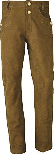 Trachten Lederhose lang Herren-Damen- Hochwertige Trachtenhose Leder lang in echt Leder Nubuk, Bayerische Lederhose in Camel (40, Camel)