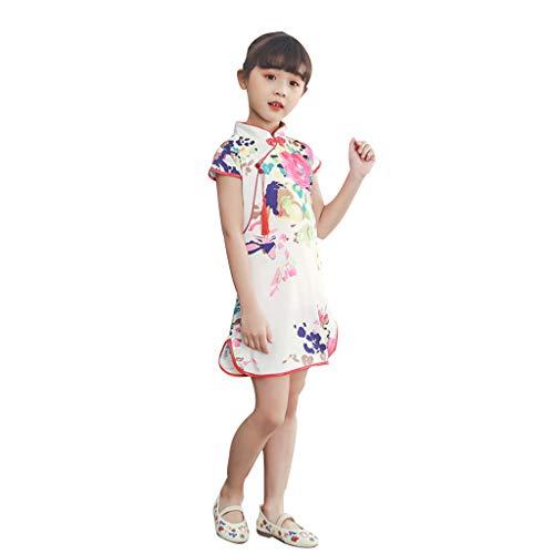 Allegorly Baby Mädchen Floral Chinesisches Cheongsam Vintage Midi Kleid Kurzarm Elegant Prinzessin Kleid Blumekleid Abendkleid Sommerkleid Festlich Hochzeit Cocktailkleid Partykleid (Chinesische Für Jungen Outfit)