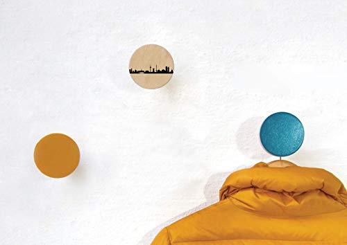 3 runde Wandhaken BERLIN, Gelb, Meerblau. Garderoben Knöpfe Buche. Hochwertiger Wand Decor City Dots Berlin Skyline. Handmade by 44spaces - Runde Garderobe