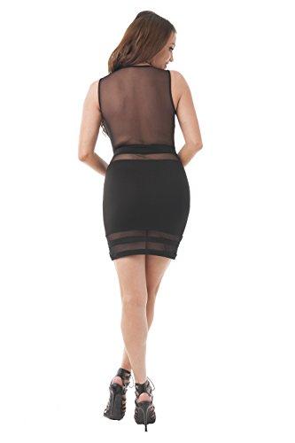 Khanomak Cocktailkleid / Partykleid, Minikleid, ärmellos, tiefer V-Ausschnitt, sexy, für Partys / Clubs Schwarz