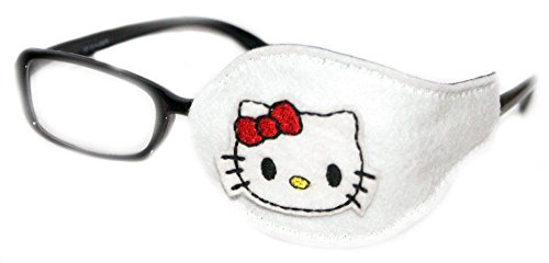 Kids and Adults Orthoptic Eye Patch For Amblyopia Lazy Eye Occlusion Therapy Treatment Design #27 Kitty on White