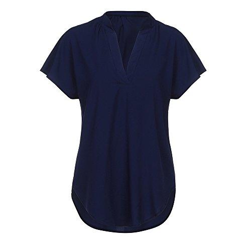 BHYDRY Frauen Langarm Knopf Bluse Pullover Tops Mit Taschen (EU-44/CN-XL, Marine-pp) (Tommy Hilfiger-gestreifte Tasche)