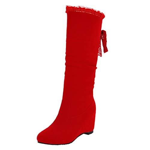 AIYOUMEI Halbstiefel Damen Keilabsatz Stiefel mit Schnürung und Spitze Schlupfstiefel Halbschaft Keilstiefel Rot 35 EU