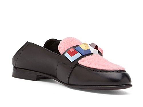 Fendi-womens-flats-loafers-in-black-leather-and-pink-Model-number-8D6231-86Y-F02HX-Size-3-UK