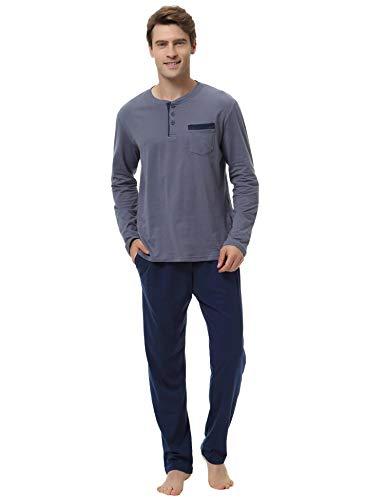 Aibrou set pigiama due pezzi da uomo invernale, pigiama uomo lungo in cotone, maniche lunghe con pantaloni lunghi pigiama uomo completino in cotone