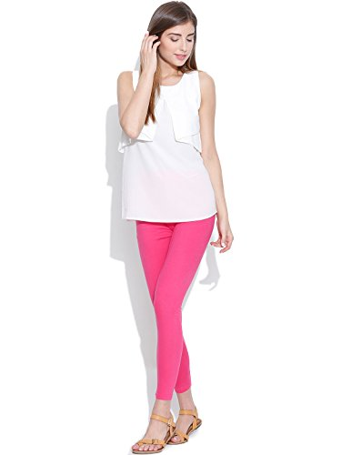 FashGlam Women Premium Ankle Length Cotton Legging - Neon Pink
