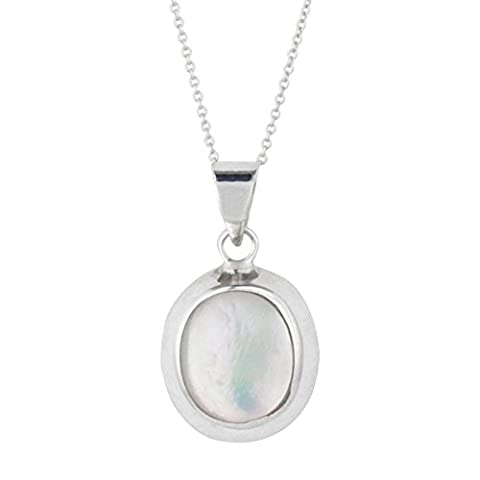 Silverly Women's .925 Sterling Silver Mother Of Pearl Shell Oval Pendant Chain Necklace, 46 cm