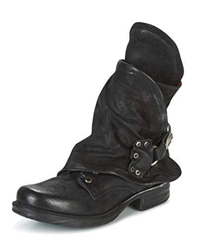 Minetom Stivali Donna Scarpe Autunno Inverno retrò Pelle Casual Ankle Boots Stivaletti Tacchi Bassi Zip Stivali da Moto da Moda Nero 43 EU