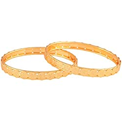 Ganapathy Gems Traditional Temple Design Lakshmi Coins Golden Gold Plated Bangle Set for Women & Girls(Size: 2.4, 10523_GPJ--2.4) 10523_GPJ--2.4