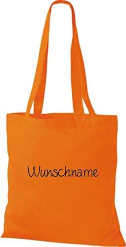 Shirtstown Stoffbeutel mit Ihrem Wunschtext versehen Orange