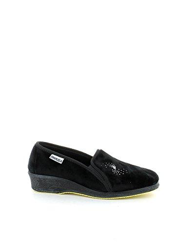 Pantofola in ciniglia nera con brillantini N. 38