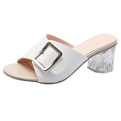 Dragon868 Sandali Donna Pantofole con Cinturino Desgin Tacco a Blocco Traspirante Eleganti Estate Sandali Donna con Tacco Medio 5cm Casual Beachwear Khaki Nero Bianco