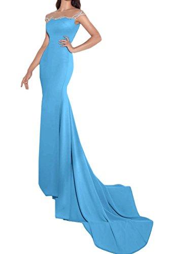 ivyd ressing Femme Fashion Etui Ligne pierres traîne Party robe Prom Lave-vaisselle robe robe du soir Bleu