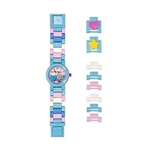 Armbanduhr Lego Friends – Stephanie, inklusive 12 zusätzlichen Armbandgliedern, Lego Minifigur im Armband integriert, analoges Ziffernblatt, kratzfestes Acrylglas