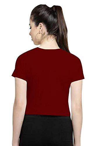 CrazyInk Women's Cotton Half Short Sleeve Round Neck Knot Crop Top (Maroon, XS)