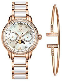 MAMONAWomen's Rose Gold Chronograph Watch Bracelet Set Stainless Steel and