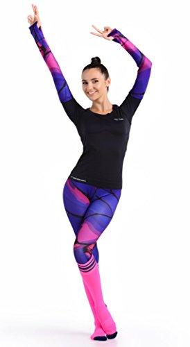 Nessi Damen Kniestrümpfe, Sportsocken, Damen Socken, Laufsocken, Fitnesssocken, Joggingsocken, Strümpfe, Laufen, Fitness, Running Socken (rosa-dunkelblau, 36-38)