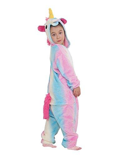 Pigiama o costume di cosplay party halloween bambini sleepwear animali di carnevale onepiece intero unicorno regalo di compleanno per ragazza o ragazzi, blu colorato, m(altezza: 105-114cm)