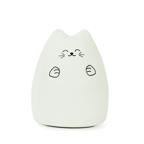 GoLine Cute Kitty LED Children Night Light, Multicolor Silicone Soft Baby Nursery Lamp, Sensitive Tap Control, Warm White & 7-Color Breathing Dual Light Modes, 12-hour Portable Usage.(GL-NL004)
