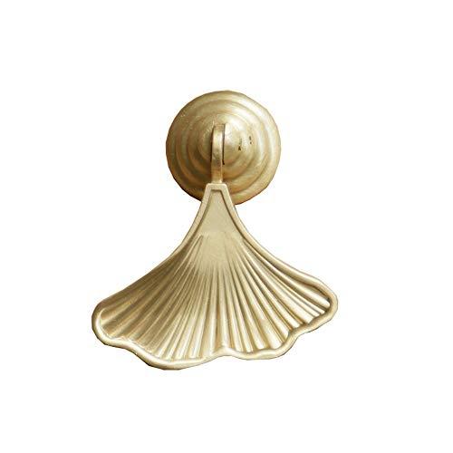 HoGau Premium massivem Messing Golden Drop Anhänger Stoßgriff Ginkgo Blatt/Meerjungfrau Schwanz Form Kabinett Knöpfe Zieht Griffe Klopfer (Farbe : Golden, Größe : 65mm*50mm*20mm)