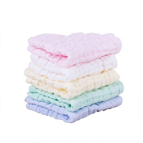 Baby muslin Washcloths naturale mussola cotone salviette neonata morbido asciugamano viso per pelli sensibili Baby Shower Gift 30cm × 30cm, confezione da 5