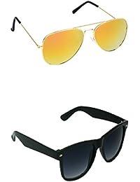 Amour-propre Yellow Mercury Aviator And Black Lens Black Frame Wayfarer Sunglasses Combo