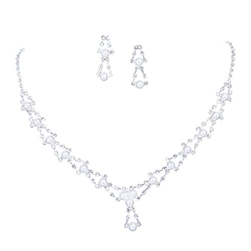 Imported Bridal Wedding Jewelry Crystal Rhinestone Faux Pearl Triangle Necklace Earring Set  available at amazon for Rs.355