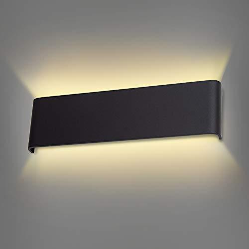 Wowatt Wandleuchte LED Innen Schwarz Wandlampe Wandstrahler Moderne Deko Wandbeleuchtung 12W 2800K Warmweiß Kinderzimmer Schlafzimmer Wandlicht Flurlampe Edelstahl Wandmontage Lampe Klemmleuchte 30cm