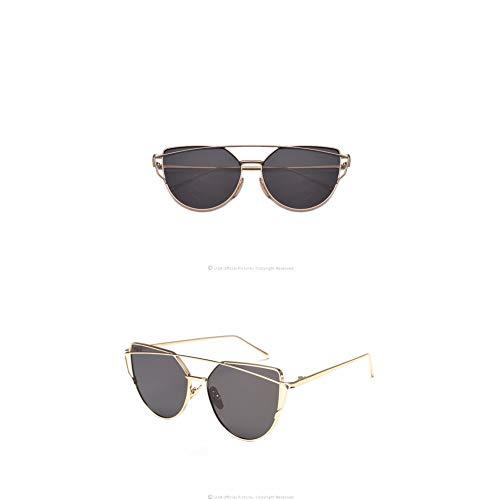 Taiyangcheng Sonnenbrille Für Frauen Brille Cat Eye Sonnenbrille Männlichen Spiegel Männer Sonnenbrille Gold Gläser,Goldgrau