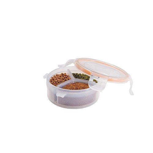 Lock & Lock PET Tierfutter-Frischhaltedose mit Innenboxen, rund, 140 ml
