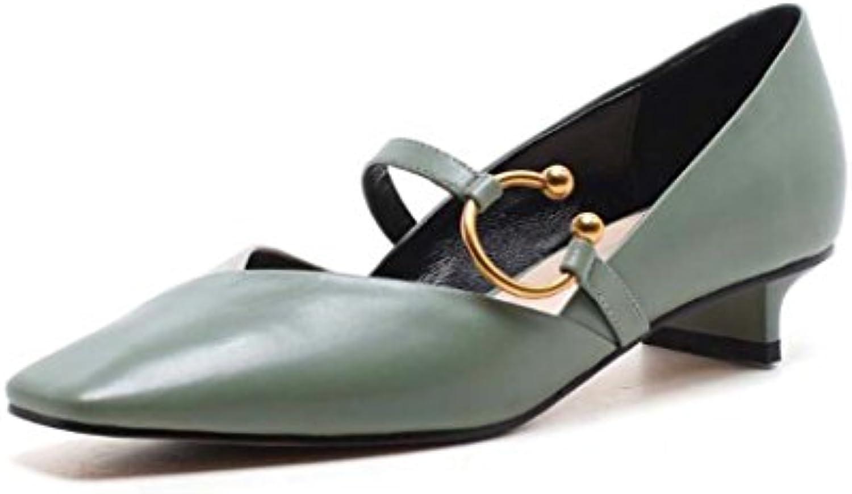 Zapatos de Punta Cuadrada de Mujer Bombas Zapatos Sueltos Zapatos de Tacón bajo con Hebilla Negra/Marrón/Verde...