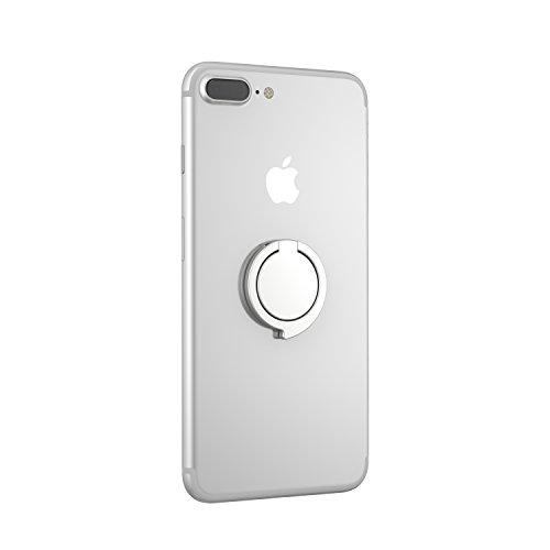 Kronya® | 360° drehbarer Smartphone Fingerhalter | Case Finger Griff Halter Halterung Handy Hülle Ring Ringhalter Ständer Tablet | Kompatibel mit Apple iPhone iPad Samsung Galaxy | 3 (Silber)
