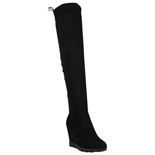 Damen Stiefel Overknees Keilabsatz Boots Schuhe 127559 Schwarz Schleife 40 Flandell