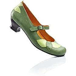 Damen Leder Spangenpumps von Biostep, 61575 in Grün Schuhgröße EUR 36