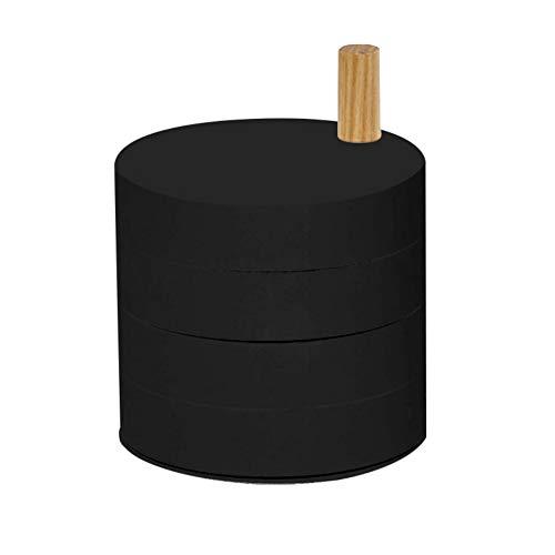 Schmuck Storage Box 360 Grad drehbare mehrschichtiger Kunststoff Schmuck Organizer-Box Schmuck-Zubehör Speicher Tray Schwarz 1PC -