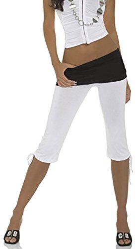 Damen Chino Capri Hose Stretch Sport Leggings 3/4 Strumpfhose (400) (M, Weiß)