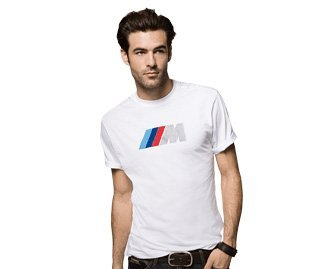 BMW M Fan T-Shirt Uomo, Colore: Bianco, stampa M tricolore,